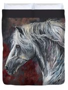 Grey Andalusian Horse Oil Painting 2013 11 26 Duvet Cover