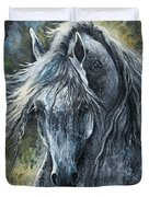 Grey Arabian Horse Oil Painting 2 Duvet Cover