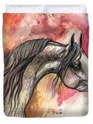 Grey Arabian Horse On Red Background 2013 11 17  Duvet Cover