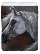 Grey Arabian Horse Soft Pastel Drawing 13 04 2013 Duvet Cover
