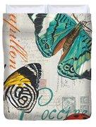 Grey Postcard Butterflies 2 Duvet Cover by Debbie DeWitt
