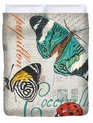 Grey Postcard Butterflies 2 Duvet Cover
