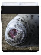 Grey Seal Pup Yawning Duvet Cover