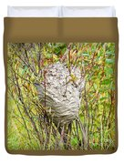 Grey Wasps Nest In Willow Bush Duvet Cover