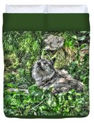 Grey Wolf Dreaming Duvet Cover
