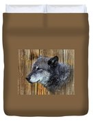 Grey Wolf On Wood Duvet Cover