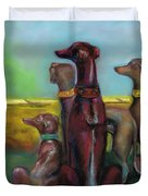 Greyhound Figurines Duvet Cover