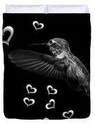 Greyscale Hummingbird - 2055 F M Duvet Cover