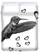 Greyscale Hummingbird - 2055 F S M Duvet Cover