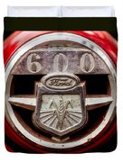 Grill Logo Detail - 1950s-vintage Ford 601 Workmaster Tractor Duvet Cover