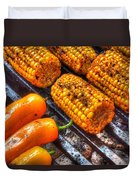 Grilling Corn And Peppers Duvet Cover