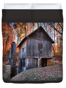 Grist Mill Under Fall Foliage Duvet Cover