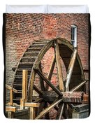 Grist Mill Water Wheel In Hobart Indiana Duvet Cover by Paul Velgos