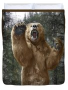 Grizzly Bear Attack On The Trail Duvet Cover
