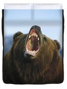 Grizzly Bear Close Up Of Growling Face Duvet Cover