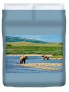 Grizzly Bear Communication In The Moraine River In Katmai  Np-ak Duvet Cover