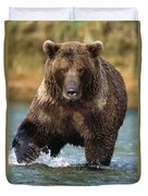 Grizzly Bear Female Looking For Fish Duvet Cover