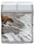Grizzly Bear Fishing For Sockeye Salmon Duvet Cover