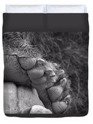 Grizzly Bear Paw Black And White Duvet Cover