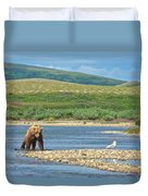 Grizzly Bear Stalking A Gull In The Moraine River In Katmai National Preserve-alaska Duvet Cover