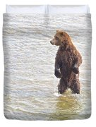 Grizzly Bear Standing To Get A Better Look In The Moraine River In Katmai Duvet Cover