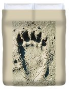 Grizzly Bear Track In Soft Mud. Duvet Cover