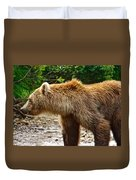 Grizzly Bear Very Close In Moraine River In Katmai National Preserve-ak Duvet Cover