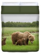 Grizzly Bear With Spring Cubs Duvet Cover