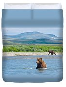 Grizzly Bears In Moraine River In Katmai National Preserve-ak Duvet Cover