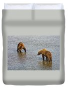 Grizzly Bears Looking For Salmon In Moraine River In Katmai Np-ak Duvet Cover