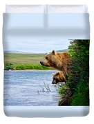Grizzly Bears Peering Out Over Moraine River From Their Safe Island Duvet Cover