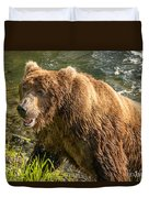Grizzly On The River Bank Duvet Cover