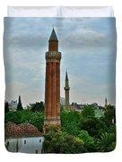 Grooved Minaret Fromthirteenth Century In Antalya-turkey Duvet Cover