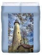 Grosse Point Lighthouse Color Duvet Cover