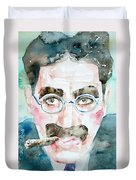 Groucho Marx Watercolor Portrait.1 Duvet Cover