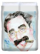 Groucho Marx Watercolor Portrait.2 Duvet Cover