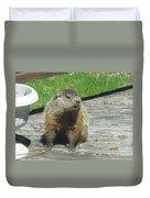 Groundhog Holding A Stick Duvet Cover