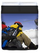 Group Heli Skiing, Helicopter Taking Duvet Cover