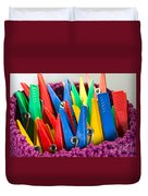 Group Of Colorful Clothespins Duvet Cover