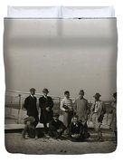 The Wright Brothers Group Portrait In Front Of Glider At Kill Devil Hill Duvet Cover
