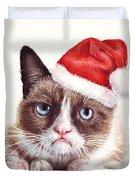Grumpy Cat As Santa Duvet Cover