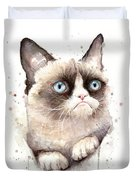 Grumpy Cat Watercolor Duvet Cover