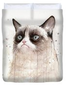 Grumpy Watercolor Cat Duvet Cover