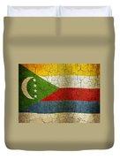 Grunge Comoros Flag Duvet Cover