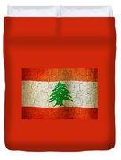 Grunge Lebanon Flag Duvet Cover