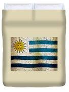 Grunge Uruguay Flag Duvet Cover