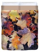 Grungy Autumn Leaves Duvet Cover