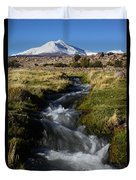 Guallatiri Volcano And Mountain Stream Duvet Cover