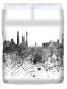 Guangzhou Skyline In Black Watercolor On White Background Duvet Cover