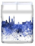 Guangzhou Skyline In Blue Watercolor On White Background Duvet Cover